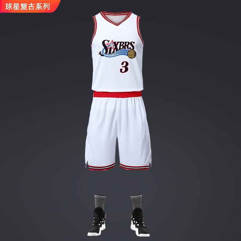 艾弗森球a衣76人3号球星复古套装纪念男子篮球背心运动篮球服套。