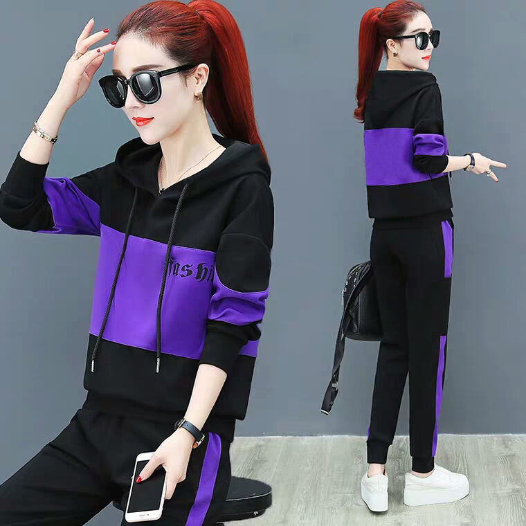 Leisure sports suit womens spring and autumn new fashion large loose long sleeved sweater two-piece set