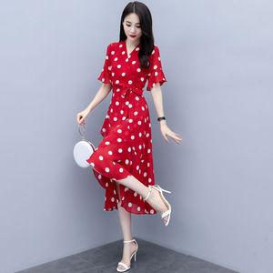 9  连衣裙年春夏季新款女装收腰显瘦气质轻熟风红色波点雪纺裙子