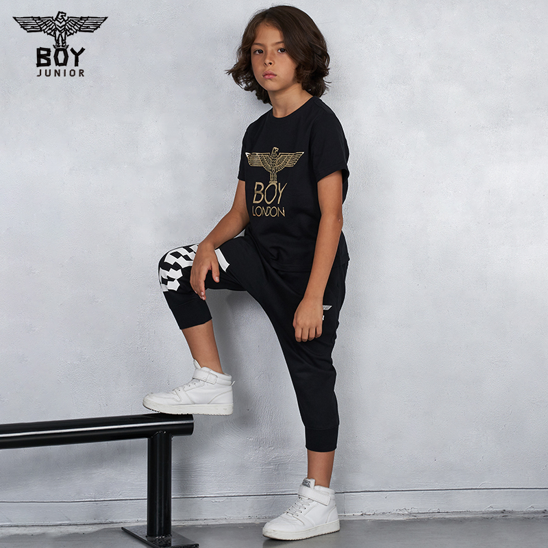 Boylondon children's clothing autumn and winter cotton children's t-shirt men's and women's gold stamping Eagle print 612402