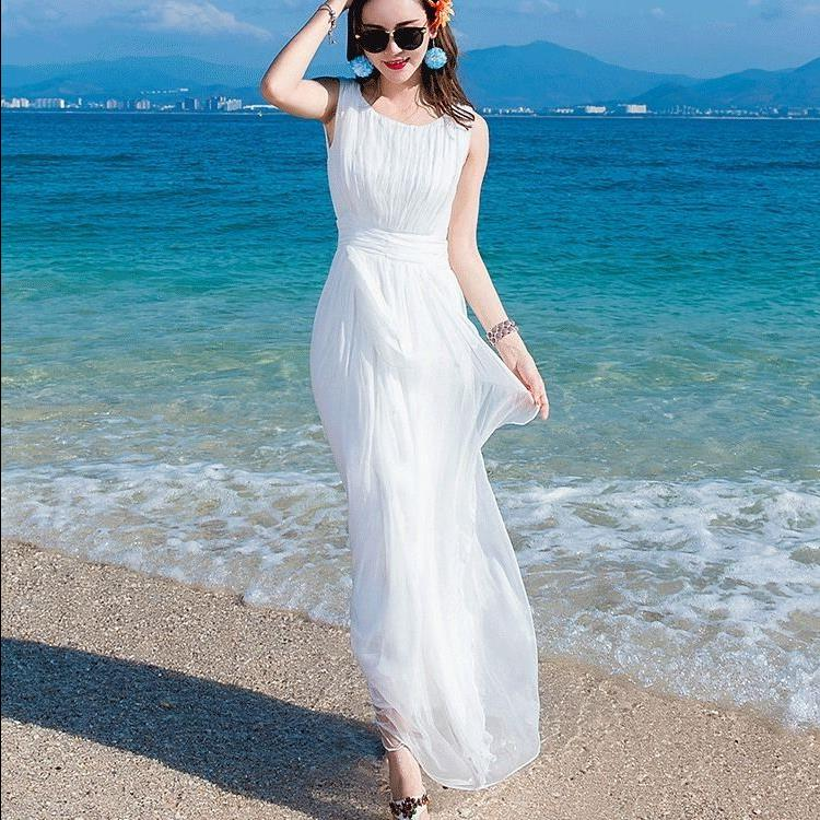 338.20元包邮雪纺白色连衣裙长裙女拼接无袖背心裙超仙海边渡假波西米亚沙滩裙
