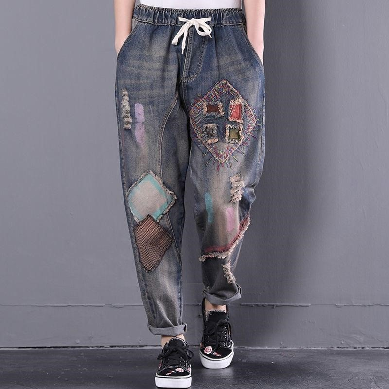 Spring and autumn retro embroidery national style jeans womens loose cut holes made of old Stickers ART elastic waist Harun pants