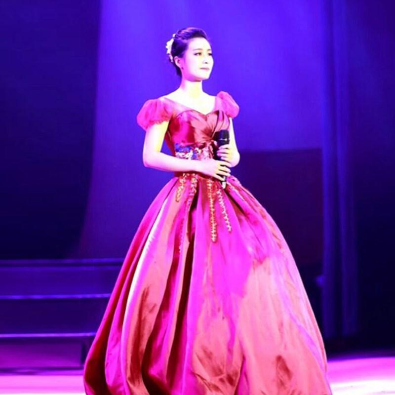 彩纱2019新款舞台独唱演出服女长款声乐艺考礼服主持人服装蓬蓬裙