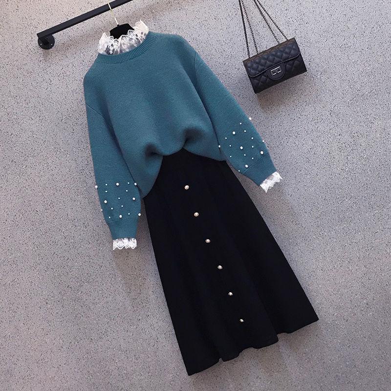 大码女装200斤胖妹妹秋冬季新款套装女洋气毛衣显瘦半身裙两件套