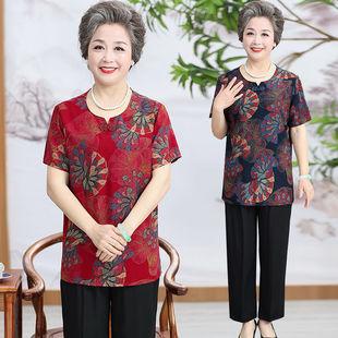 妈妈夏装棉绸套装中老年女夏天宽松衣服老年人60岁奶奶短袖两件套