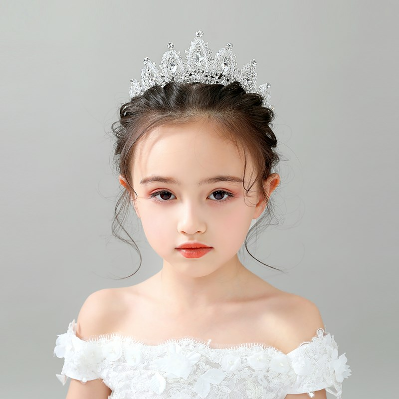 Korean childrens crown headdress childrens Princess Aisha birthday crystal Sophia girls crown hair ornament
