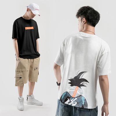 潮牌日系风格 纯棉t恤2019夏季短袖男宽松悟空印花F244-P35控69