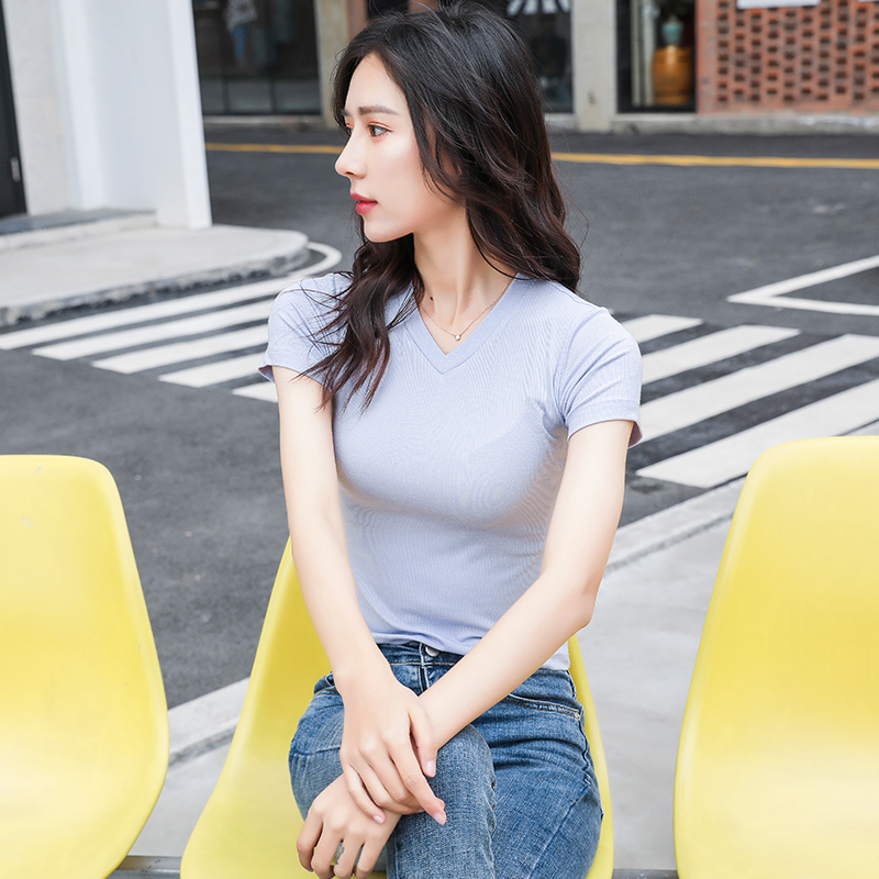 2020 new summer casual and comfortable short sleeve T-shirt Korean V-neck half sleeve fashion T-shirt fashion womens clothes