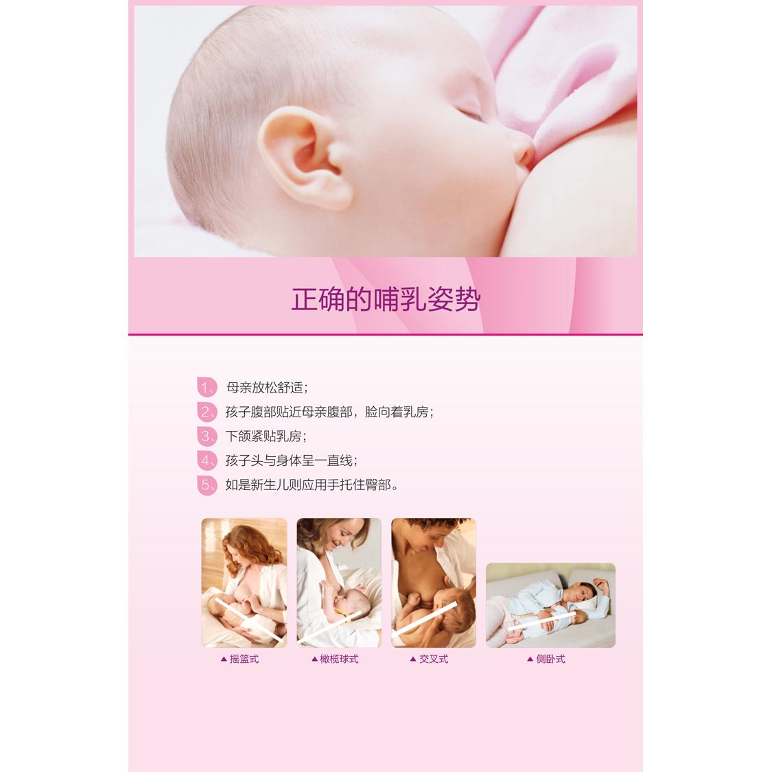 医院产科海报妇幼保健宣传画展板母乳喂养的好处及正确哺乳的姿势