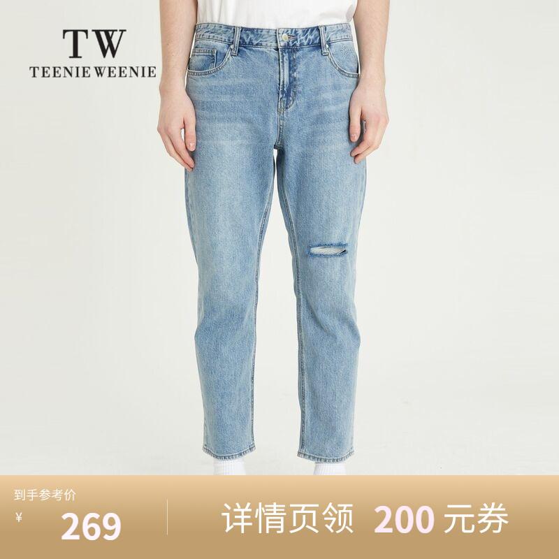 TeenieWeenie小熊男装韩版时尚直筒破洞牛仔裤青春减龄百搭裤装