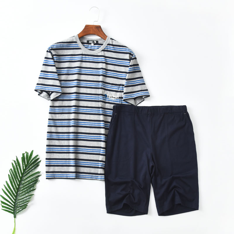 Japanese casual wear mens home wear pajamas short sleeve shorts 19 summer new stripe set