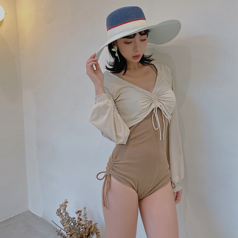 Huisiqi new swimsuit fashion sexy steel support one piece triangle belt cover up two piece swimsuit 8203