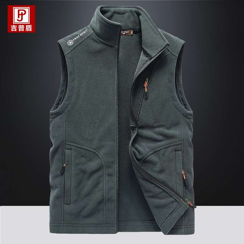 Stand collar vest mens autumn and winter warm double faced velvet sleeveless jacket casual windproof vest Fleece Vest