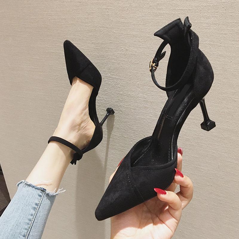 包头凉鞋女仙女风2019夏季新款百搭尖头黑色网红一字带细跟高跟鞋
