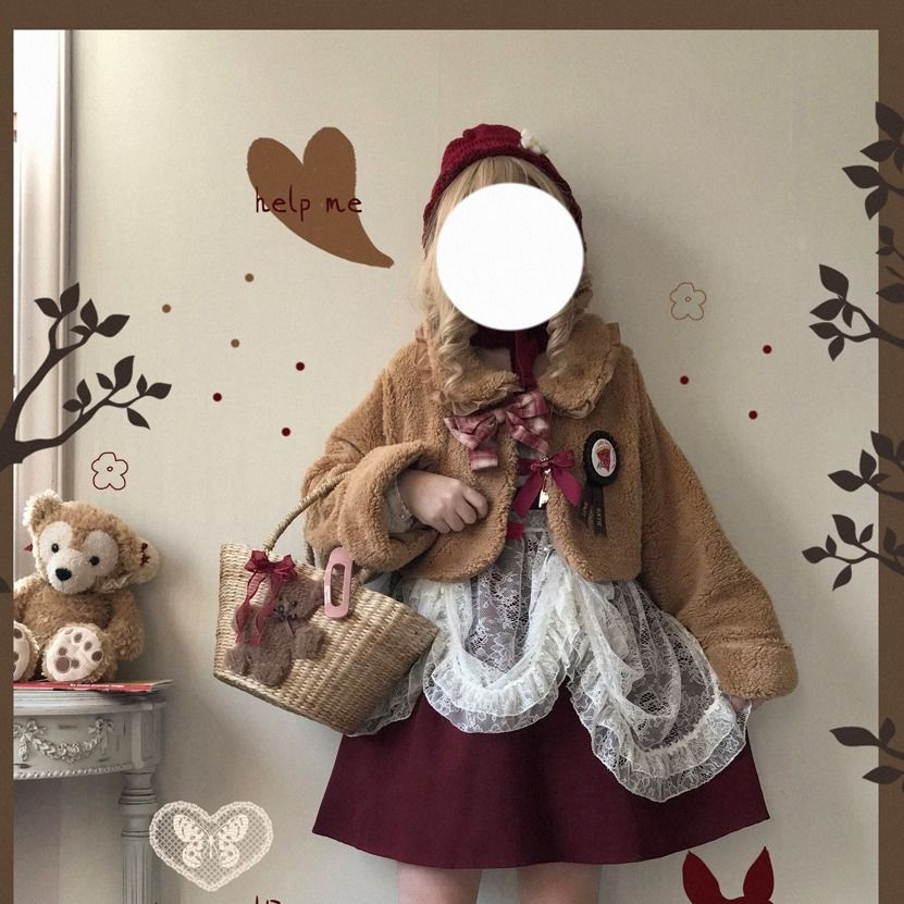 Autumn and winter Lolita rabbit ear cashmere Lolita loose large childrens thickened coat short coat female student Japanese