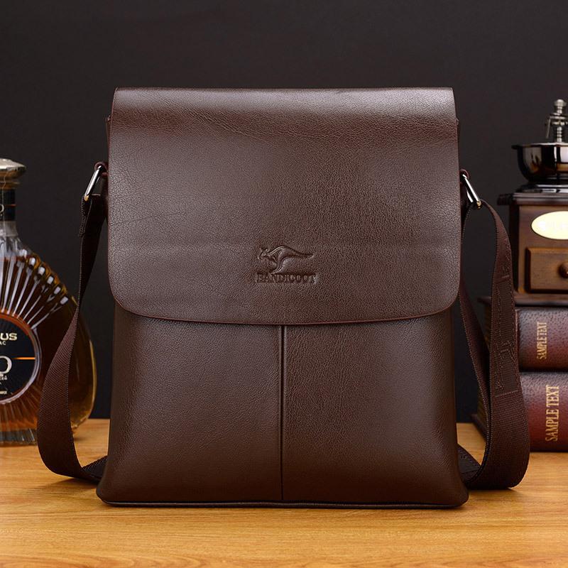 2020新款巴诺袋鼠男包商务韩版包男士单肩斜挎包背包休闲真皮包包