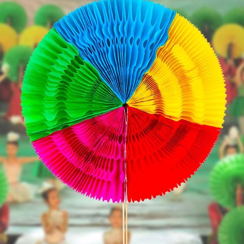 手翻花运动会道具扇子舞蹈五色手拿花道具扇变色五色七彩扇子折叠