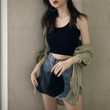 吊带上衣女秋夏黑色泫雅外穿紧身露脐小背心 内搭打底无袖 港味短款