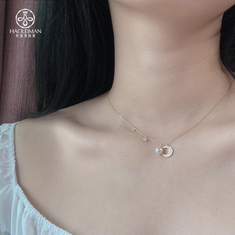 天然淡水珍珠项链星星月亮银锁骨链日系甜美925HLM轻奢珠宝手作