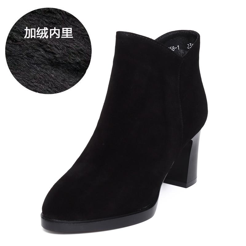 高跟短靴女粗跟防水台秋冬新款磨砂棉鞋百搭加绒厚底皮鞋。