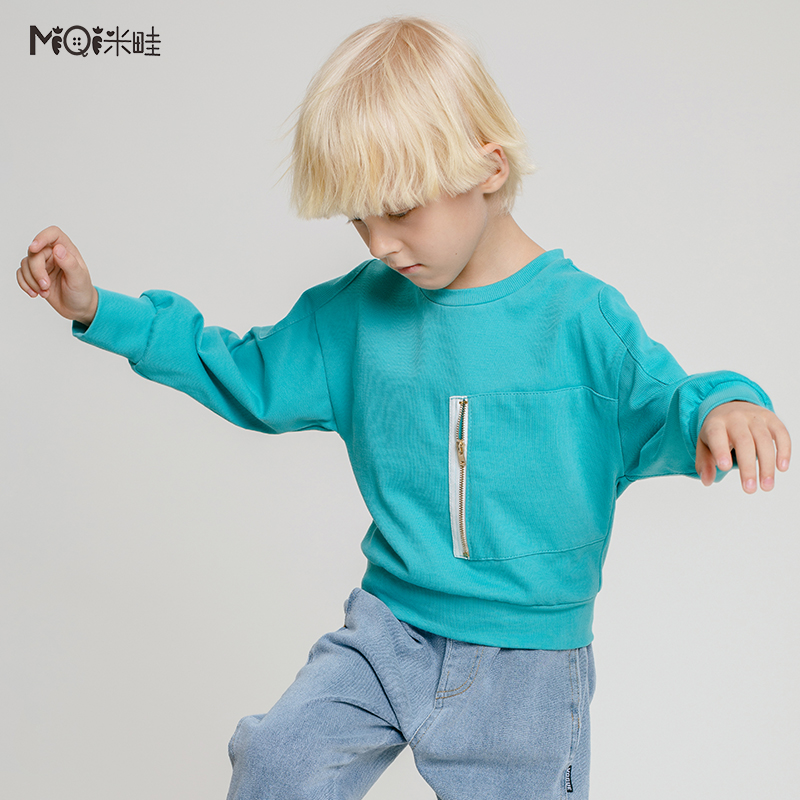 Rice border childrens clothing boys lake green rib sweater 2021 spring childrens T-shirt foreign style long sleeve top round neck