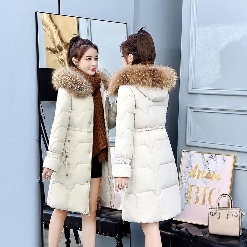 棉衣女长款2020冬季新款韩版时尚百搭修身显瘦大毛领加厚棉袄外套