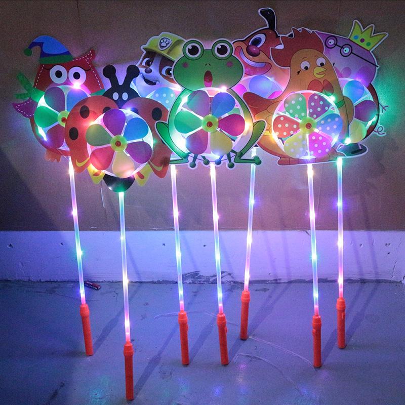 发光风车七彩夜光带灯魔力装饰户外旋转新年卡通传统玩具彩色网红