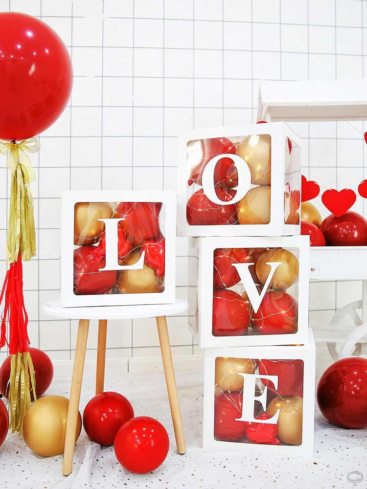 Net red transparent balloon box love box birthday party decoration wedding supplies proposal scene layout