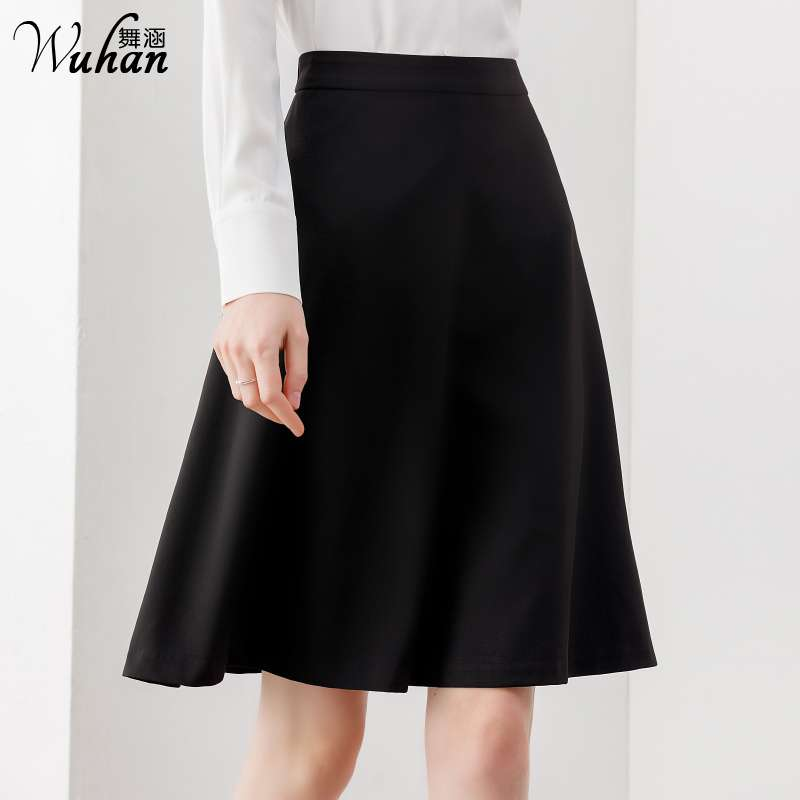 Professional skirt half skirt women work group black Western skirt medium length knee length umbrella skirt A-line dress formal tooling skirt
