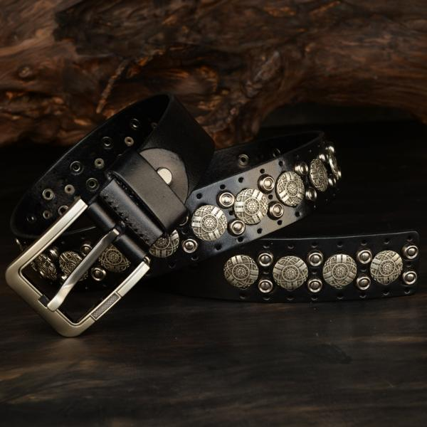 High grade waistband riveted cow leather pin buckle hip hop leather Liu Ding trouser belt head layer young barber inlaid with gold belt