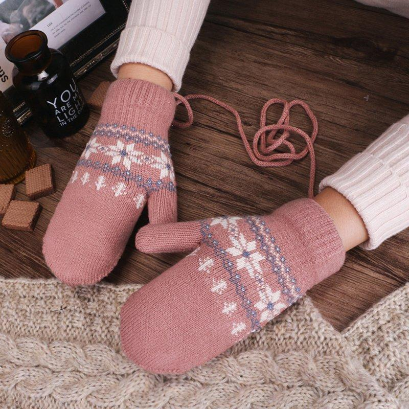 Gloves female autumn and winter Korean version Plush warm and thick lovely fashion all inclusive student neck and finger wool gloves