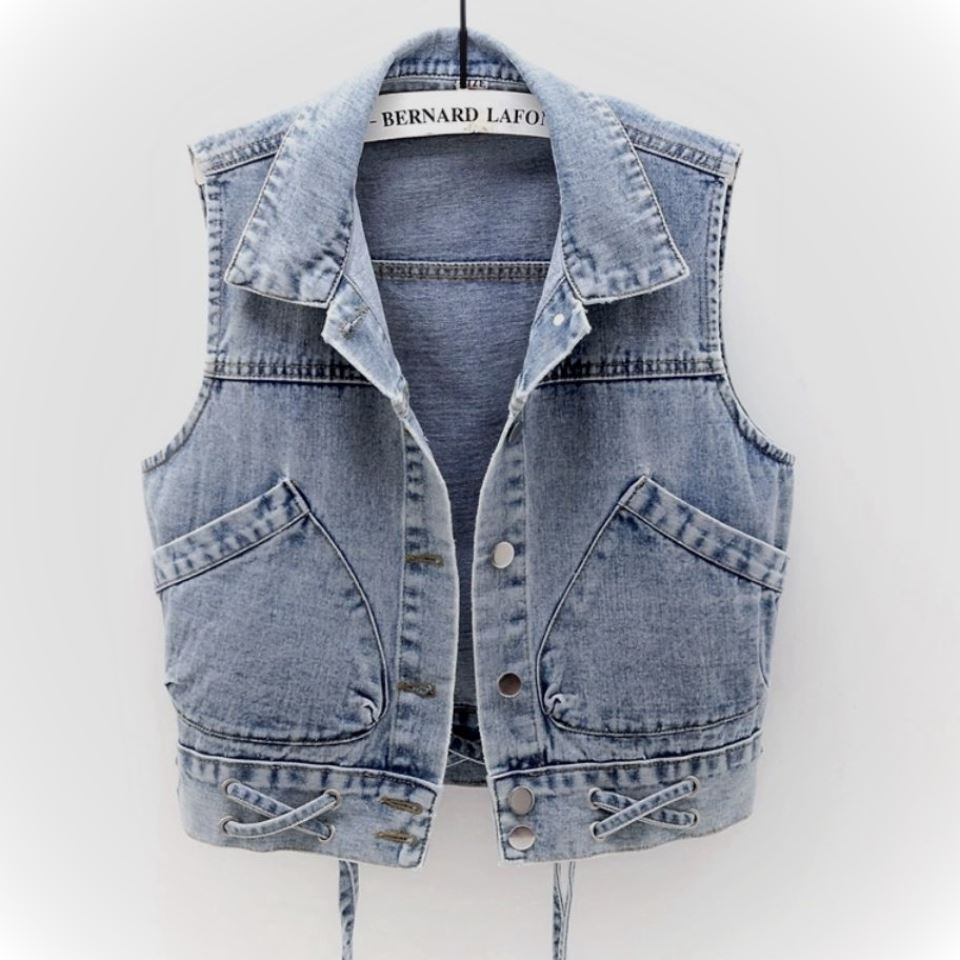 Lace up sleeveless womens short spring and autumn 2020 new jacket large pocket slim fit Denim Vest Top