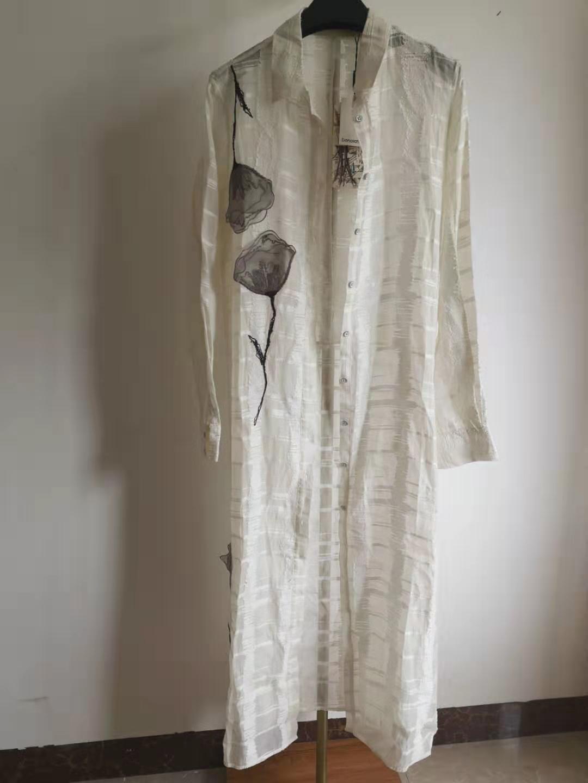 孤帆本白风衣Q3DCY0637花之二达衣岩专柜正品长上衣诗中吟唱