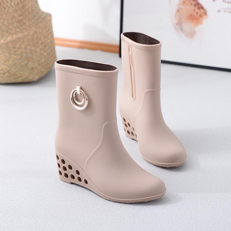 时尚雨鞋女式短筒水鞋雨靴高跟胶鞋套鞋中筒水靴防滑防水坡跟雨鞋
