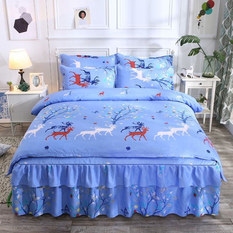 网红款四件套斜纹磨毛全棉床裙纯棉简约床上用品套件被套床单热卖