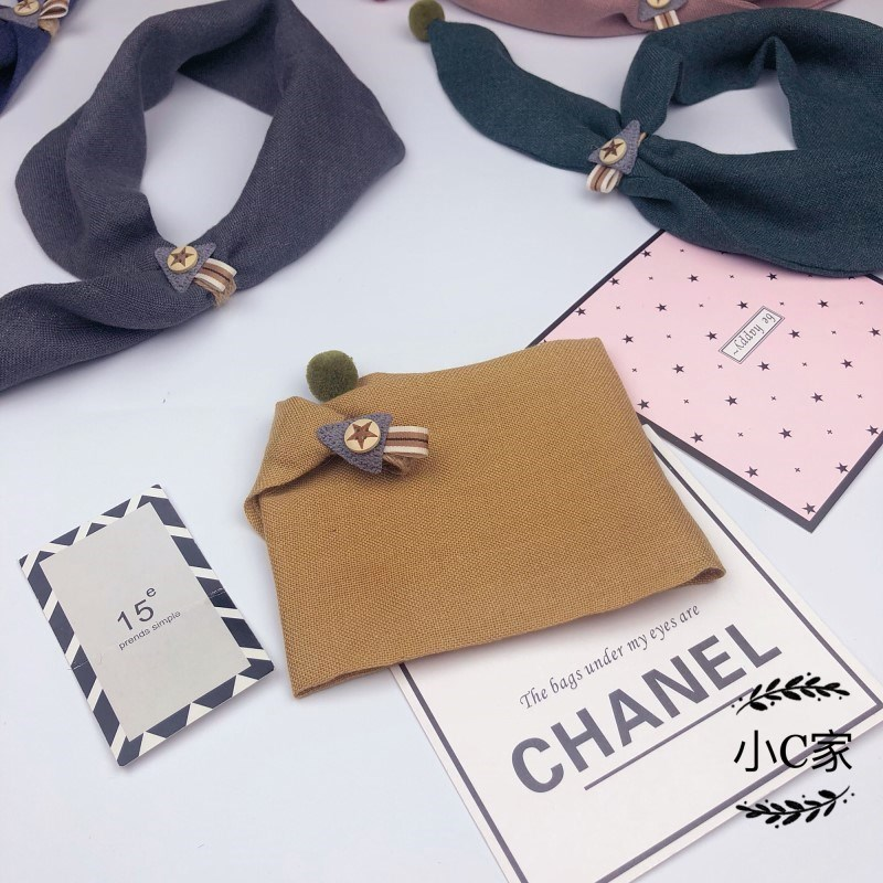 Childrens scarf Bib baby Korean version for girls and boys versatile triangle scarf for children Korean baby spring and autumn winter thin.