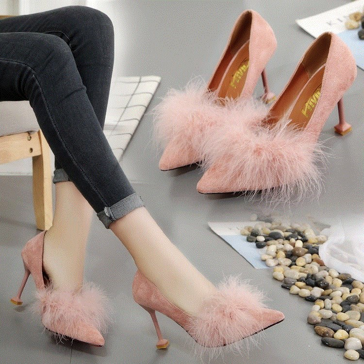 Spring and autumn temperament shoes personality high heels womens stiletto home new fashion version party bride party hair.