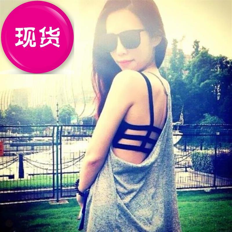 Vest style new back underwear womens cross band fashion white off shoulder slim anti exposure fashion lace 1 edge