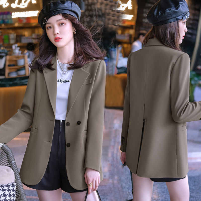 New Korean suit coat womens 2021 casual loose small suit medium and long commuter thin British womens wear