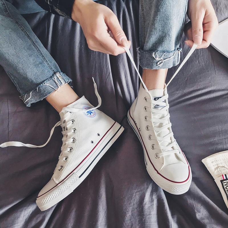 帆布鞋男高帮秋冬季百搭潮鞋加绒保暖棉鞋潮流学生情侣板鞋鞋子男