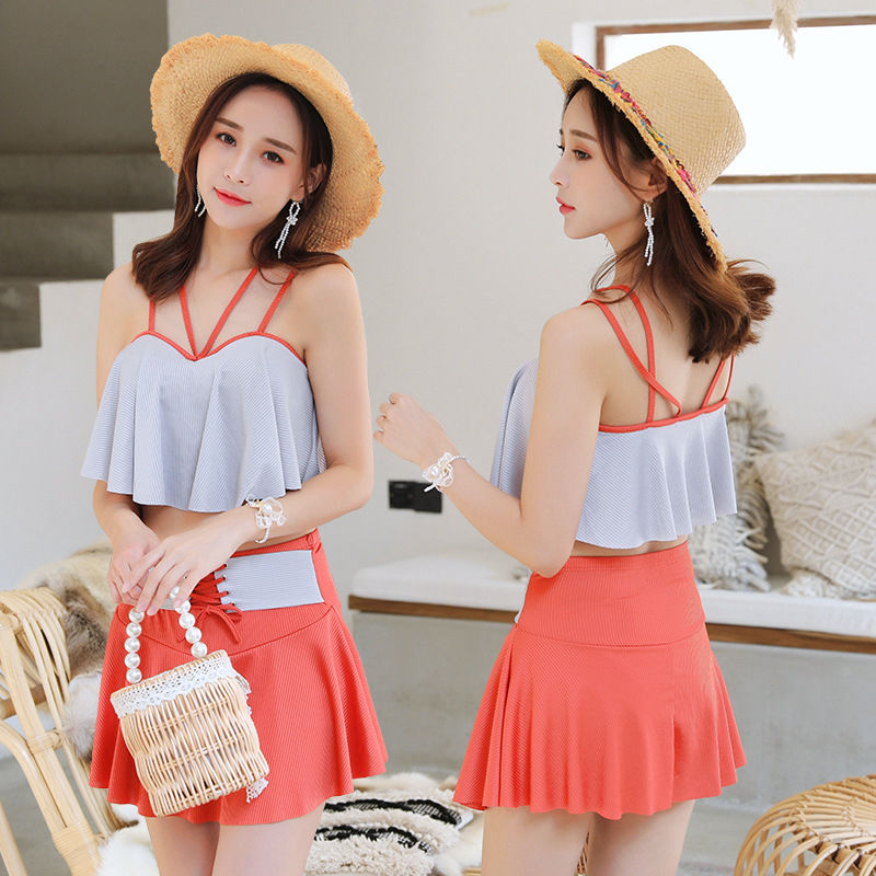 Swimsuit womens split two piece skirt style flat angle conservative small fragrance show thin