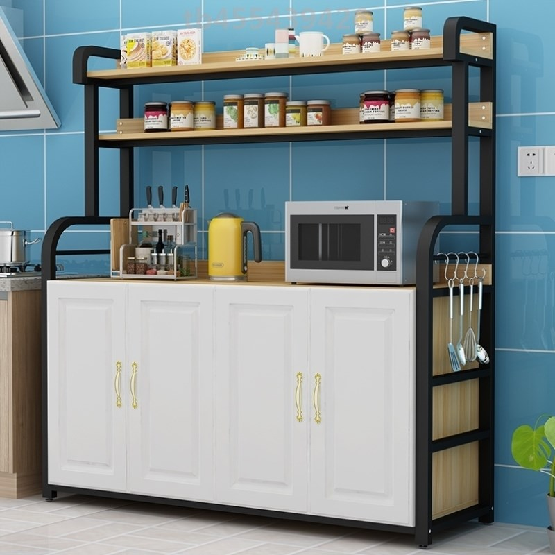 Oven storage rack multifunctional side cabinet with steaming storage rack floor type family cabinet bowl plate small house