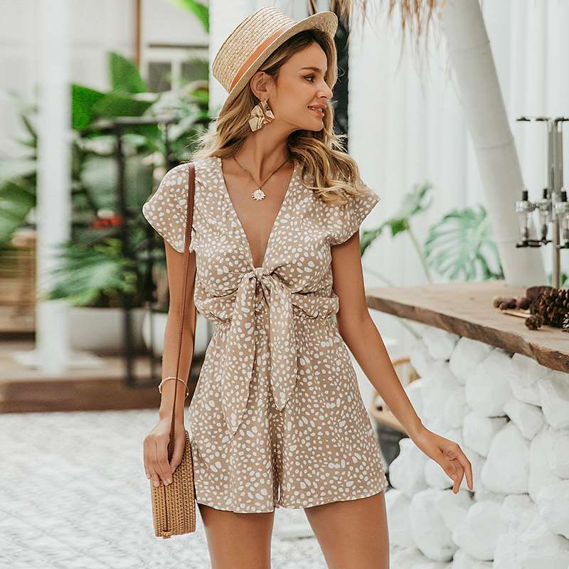 【包邮】2020春夏欧美女装新款无袖连身衣波点打结时尚短连体裤