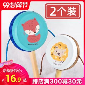 拨浪鼓婴儿益智传统木质宝宝波浪鼓手摇鼓儿童玩具鼓铃0中国风1岁