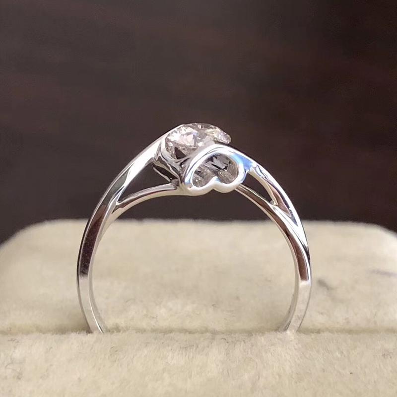 Ring female 925 Silver Angels kiss classic twist arm diamond ring simple 1 carat zircon Qixi Valentines gift