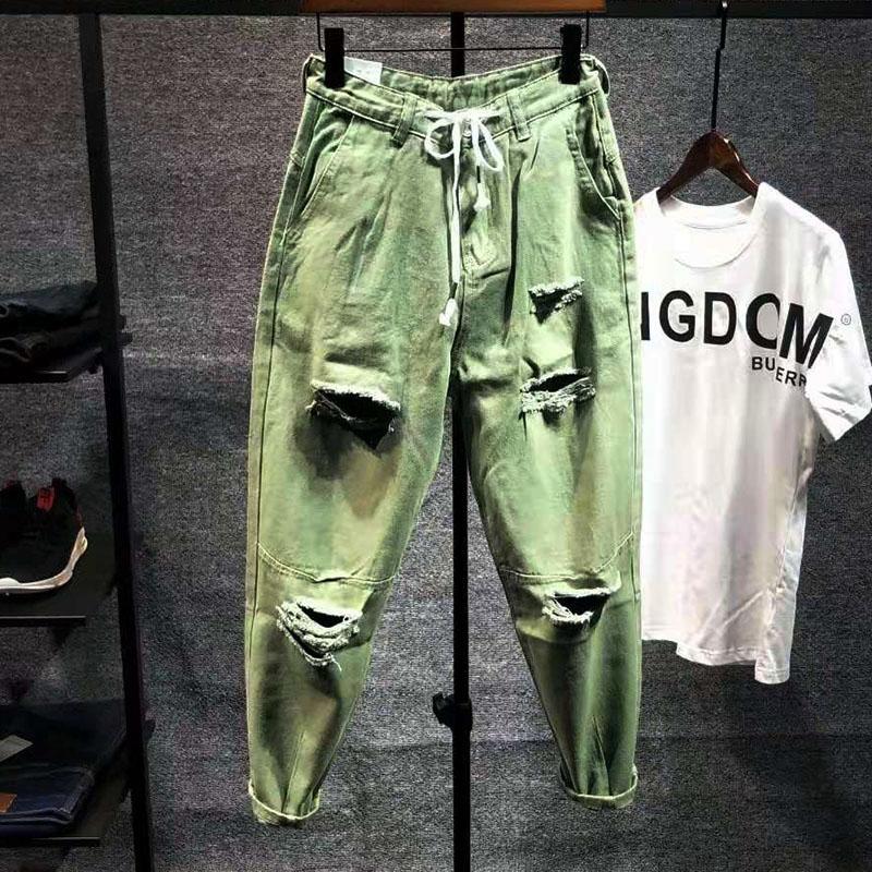 Japanese ins broken hole beggar jeans mens lace up Capris loose summer fashion brand Harlan small foot beggar pants
