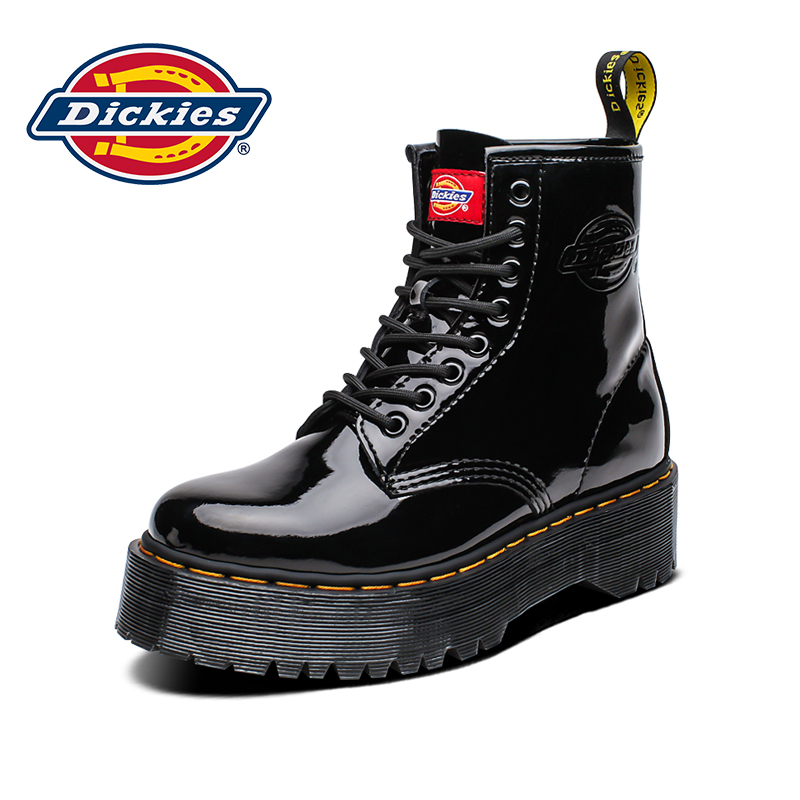 Dickies women's boots autumn black eight-hole Martin boots female British style wild thick-soled short boots leather boots tide
