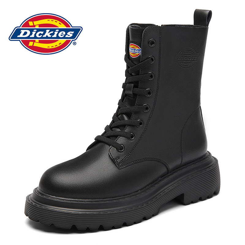 Dickies women's shoes summer boots thick bottom high boots female British wind boots wild thin section leather boots