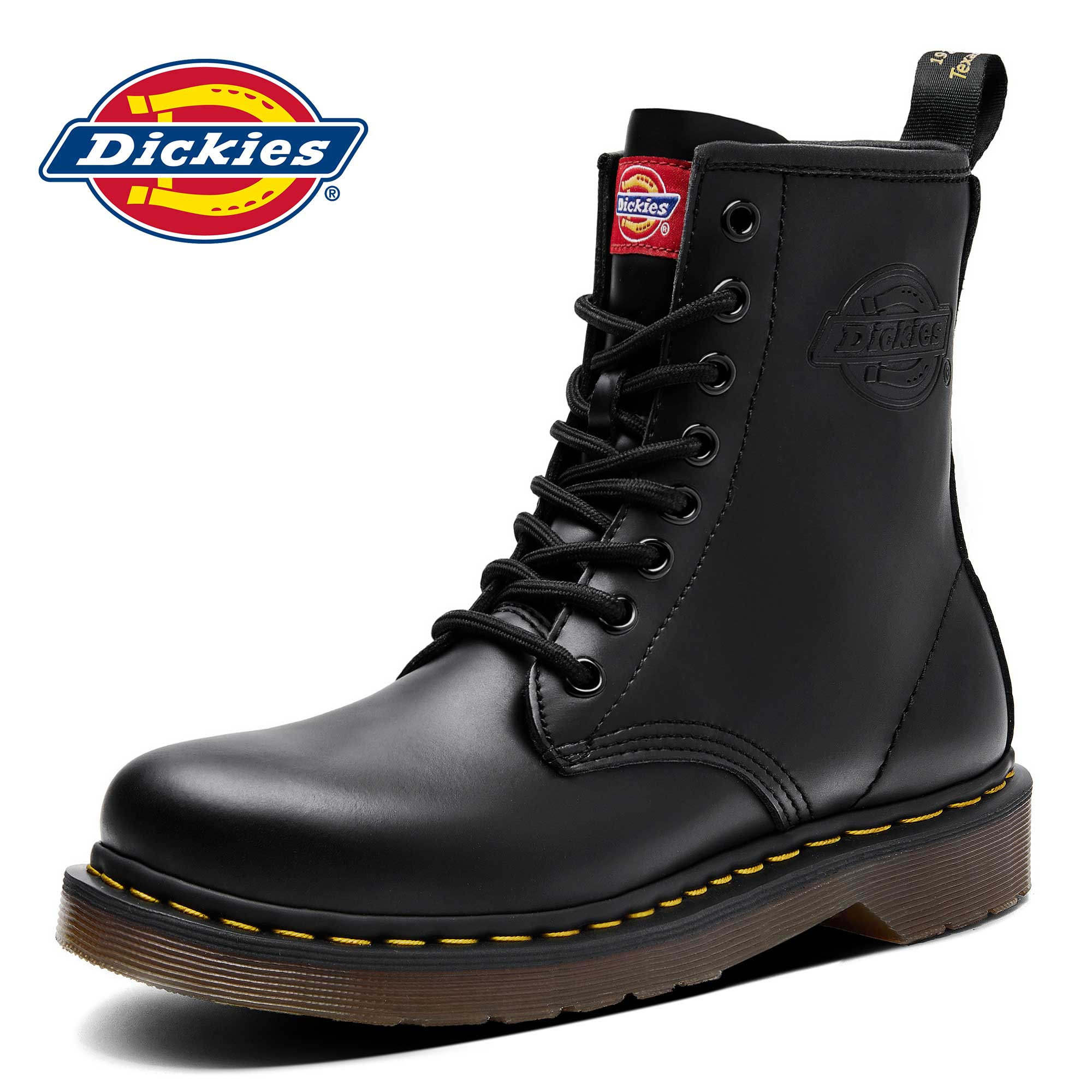 Dickies black leather Martin boots men's high-top British style winter ins mid-top tooling shoes leather boots tide boots