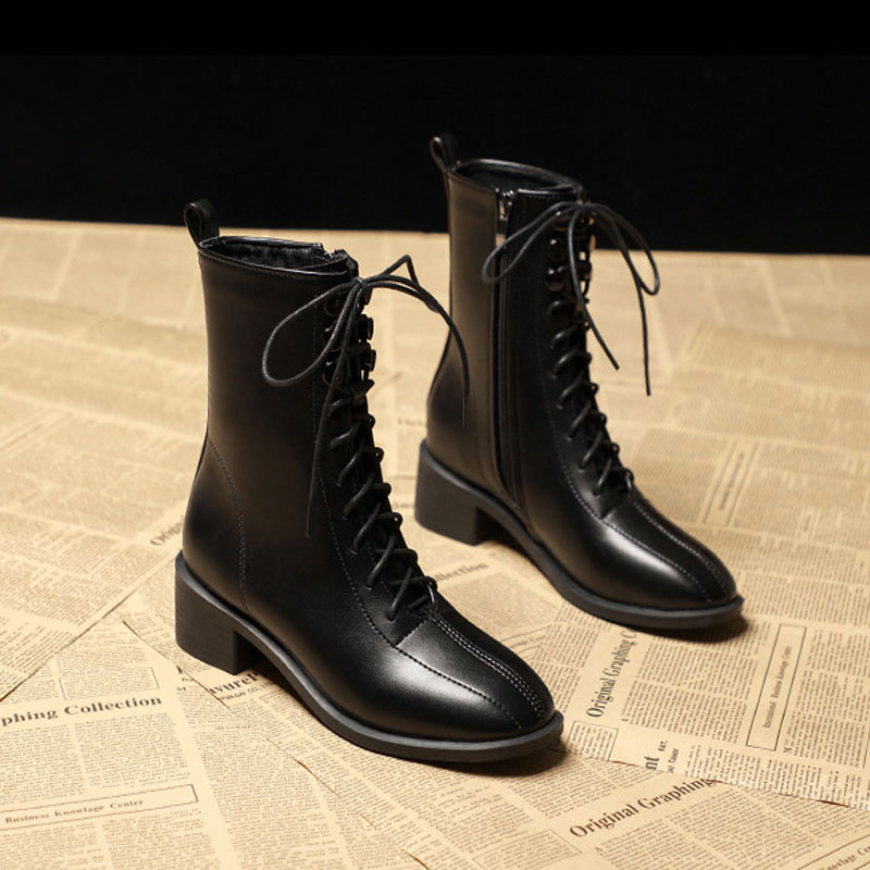 British style Martin boots womens autumn and winter 2020 new fashion Japanese middle tube boots lace up thick heel Plush thin boots women